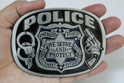 American finest police shield serve and protect enamelled belt buckle WT008