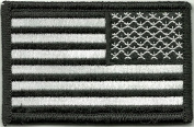 Tactical Reverse USA Flag Patch - Black & White