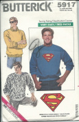Butterick 5917 Sewing Pattern Very Easy Mens Shirts Superman Transfer