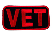 VET Veteran Red Black Iron or Sew on Embroidered Patch D38