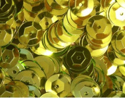 8mm CUP SEQUINS Metallic Yellow. Loose sequins for embroidery, applique, arts, crafts, and embellishment.