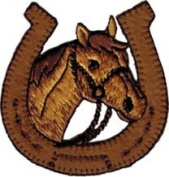Horseshoe - Brown With Brown Horse - Embroidered Iron On Or Sew On Patch