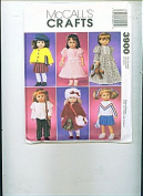 McCalls Crafts 3900 Pattern Dresses Cheerleader Gown Dress Peasant Blouse Pants Pleated Skirt Coat Fur Hat/muff Fits American Girl Dolls and 46cm Dolls Like Molly Julie Samantha Nellie