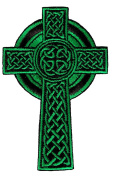 Celtic Cross Iron-On Patch Green Embroidered Relgious Applique Gaelic Irish Crucifix Goth Emblem