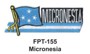 2.5cm - 1.3cm X 10cm - 1.3cm Flag Embroidered Patch Micronesia