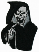 Grim Reaper Skull Embroidered iron on Motorcycle Biker Patch