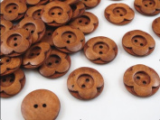 Wholesale 50pcs New 2 Hole Wood Buttons Flower 25mm Sewing Craft