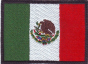 Mexico Black Border Flag Embroidered Sew on Patch