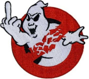 Novelty Iron On Patch - Creepy Zombie Dead Ghost Bastard Buster Middle Finger Applique