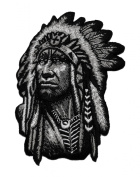 Realistic Chief Native American Indian DIY Applique Embroidered Sew Iron on Patch
