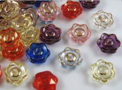 50pcs 20mm Mix Colour Rose Plastic Buttons W/hole Clothes Sewing Crafts