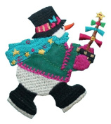 ID #8005 Snowman Christmas Xmas Holiday Embroidered Iron On Applique Patch