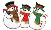ID #8003 Winter Holiday Christmas Snowmen Snowman Snow Embroidered Iron On Applique Patch