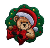 ID #8027 Teddy Bear Christmas Xmas Holiday Embroidered Iron On Applique Patch