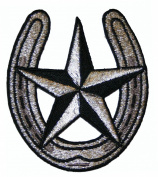 FD Horseshoe & Nautical Star Tattoo Silver & Black Embroidered Iron On Patch