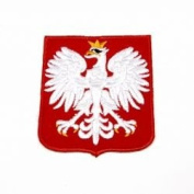 Poland Polska with Eagle Fifa World Cup Soccer Iron on Patch Crest Badge ... 6.4cm X 5.4cm .. New