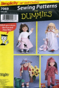 Simplicity Sewing Patterns for Dummies 46cm Doll Clothes, Poodle Skirt, Pyjamas, Sun Suit, Winter Suit and Hat