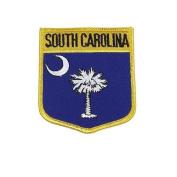 South Carolina USA State Shield Flag Iron on Patch Crest Badge .. 7.6cm X 8.9cm ... New