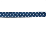 5 Yards of 1.6cm Navy/white Polka Dots Print Fold Over Elastic