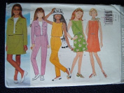 BUTTERICK SEWING PATTERN 4840 GIRLS JACKET, DRESS, TOP, SKIRT, PANTS & SCARF IN SIZES 7-8-10 RATED VERY EASY - BUTTERICK CLASSICS