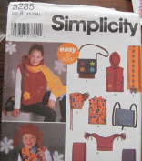 SIMPLICITY PATTERN 5285 CHILD'S GIRLS'AND BOYS' VEST, HATS ANS ACCESSORIES SIZE A XS, S, M, L