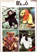 STUFFED TOY SEWING PATTERN BEAR, LION, MONKEY AND DOG - VINTAGE SIMPLICITY SEWING PATTERN 8226