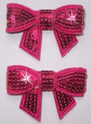 Fabric Sequin Bow Tie 2 x 45mm Iron-On Fabric Transfer
