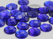 18mm Sapphire Dark .NAB01 Flat Back Round Acrylic Jewels High Quality Pro Grade - 30 Pieces