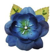 Cuteque International 6-Piece Pack Rhinestone Embellished Colourful Garden Roses with Leaves, Navy