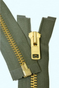 90cm Chaps Zipper YKK #10 Brass ~ Separating ~ 567 Olive Green