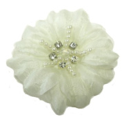 Cuteque International Soft Silk Flower 6-Pack Rhinestone Embellishments, Ivory