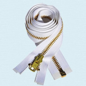 90cm Chaps Zipper YKK #10 Brass ~ Separating ~ WHITE