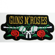 10cm x 5.1cm GUNS N ROSES Gun Cross Heavy Metal Rockabilly Rock Punk Music Band Logo jacket T-shirt Patch Iron on Embroidered music patch by Tourlesjours