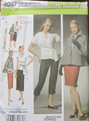 SIMPLICITY PATTERN 4047 MISSES' CROPPED PANTS, SKIRT IN TWO LENGTHS, TOP, SASH AND LINED JACKET SIZE h5 6-14