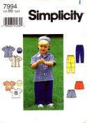 Simplicity 7994 Sewing Pattern Toddler Boys Shirt Top Pants Shorts Cap Size 2 - 4