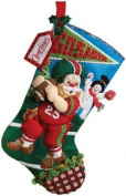 Bucilla 46cm Christmas Stocking Felt Applique Kit, Football Santa