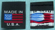 500 pcs WOVEN CLOTHING LABELS BLACK MADE IN U.S.A. AMERICAN FLAG