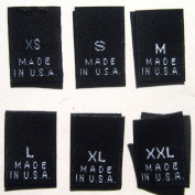 500 pcs WOVEN CLOTHING LABELS BLACK MADE IN USA - XS S M L XL XXL