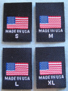 480 PCS WOVEN CLOTHING LABELS, MADE IN U.S.A. AMERICAN FLAG - S, M, L, XL