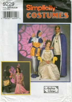 Simplicity Costumes and Andrea Schewe Pattern 9229: Misses', Men's and Teens Mediaeval Costumes: King, Queen, Jester, Princess, Prince, Knight
