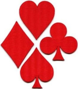 Lot of 4 Playing Cards Red Suit Diamonds Spades Poker Applique Iron-on Patches Cute Gift to Your Cloth.