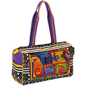 Laurel Burch Medium Satchel with Zipper Top, Dog Tails Patchwork