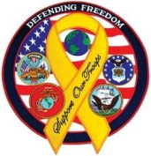 """Defending Freedom"" Yellow Ribbon Large Back Patch"