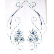 Rhinestone Iron on Transfer Hot Fix Motif Crystal Fashion Design Love Flowers Blue 3 Sheets 9.4*48cm