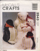 McCall Craft Sewing Pattern 2543 - Use to Make - Penguins, Polar Bears in 2 sizes