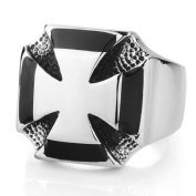 Tanboo World War 2 German Army Titanium Steel Iron Cross Ring ,with Tanboo Card and Gift Box
