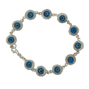 Jewish Jewellery, Woman Bracelet, Evil Eye Design. Blue Coloured Stone. 20cm Long. Great Gift for