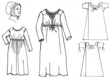 1810 to 1820 Front Closing Dress Set for a Working Class Woman Pattern (Size Large - Medium - XL)