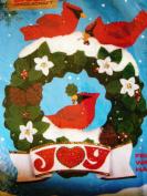 Felt Christmas Wreath with Cardinals Wall Hanging Kit Titan # 93211