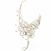 Rhinestone Transfer Hot Fix Motif Fashion Design Gold Butterfly Tattoos Deco 3 Sheets 5.5*28cm